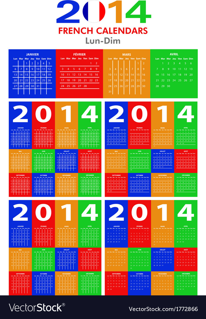 French calendar 2014 vector   Price: 1 Credit (USD $1)