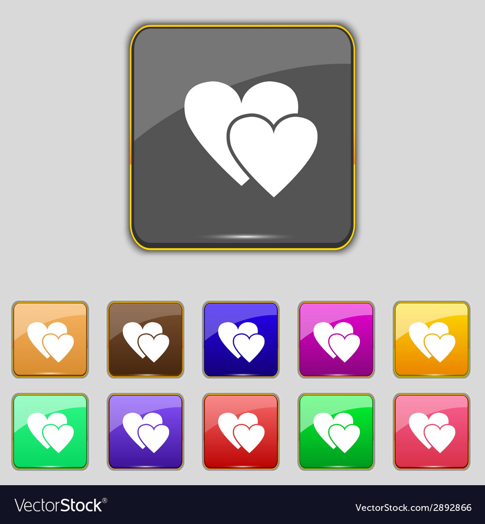 Heart sign icon love symbol set colur buttons vector | Price: 1 Credit (USD $1)