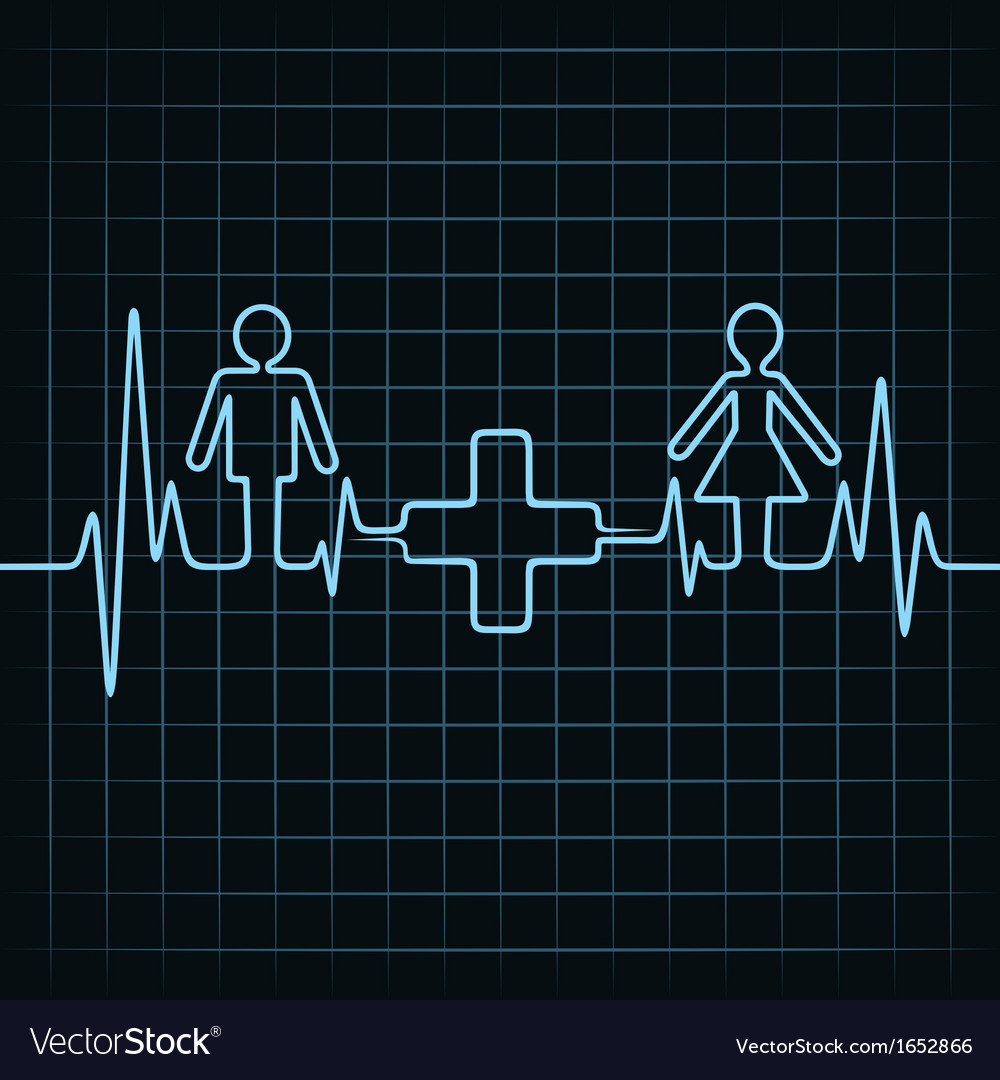Heartbeat make malefemale and medical symbol vector | Price: 1 Credit (USD $1)