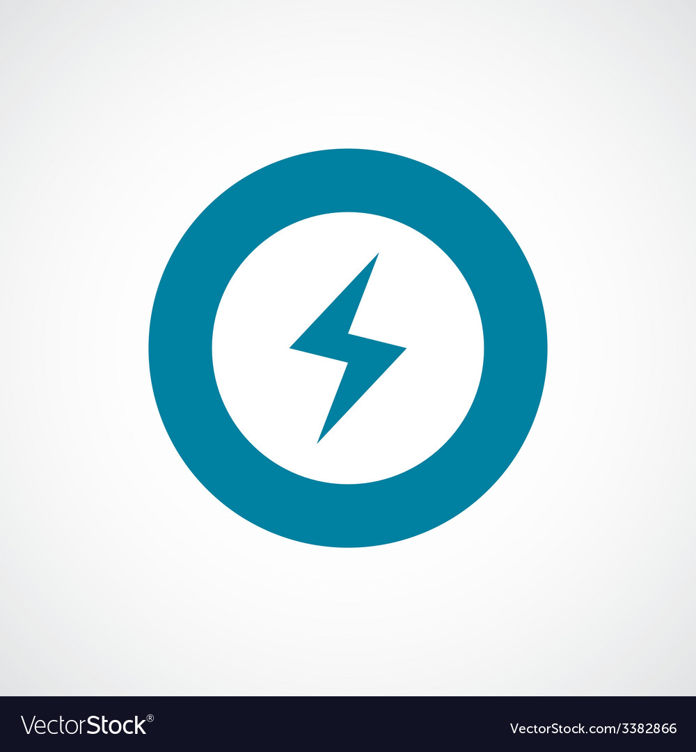 Lightning bold blue border circle icon vector | Price: 1 Credit (USD $1)