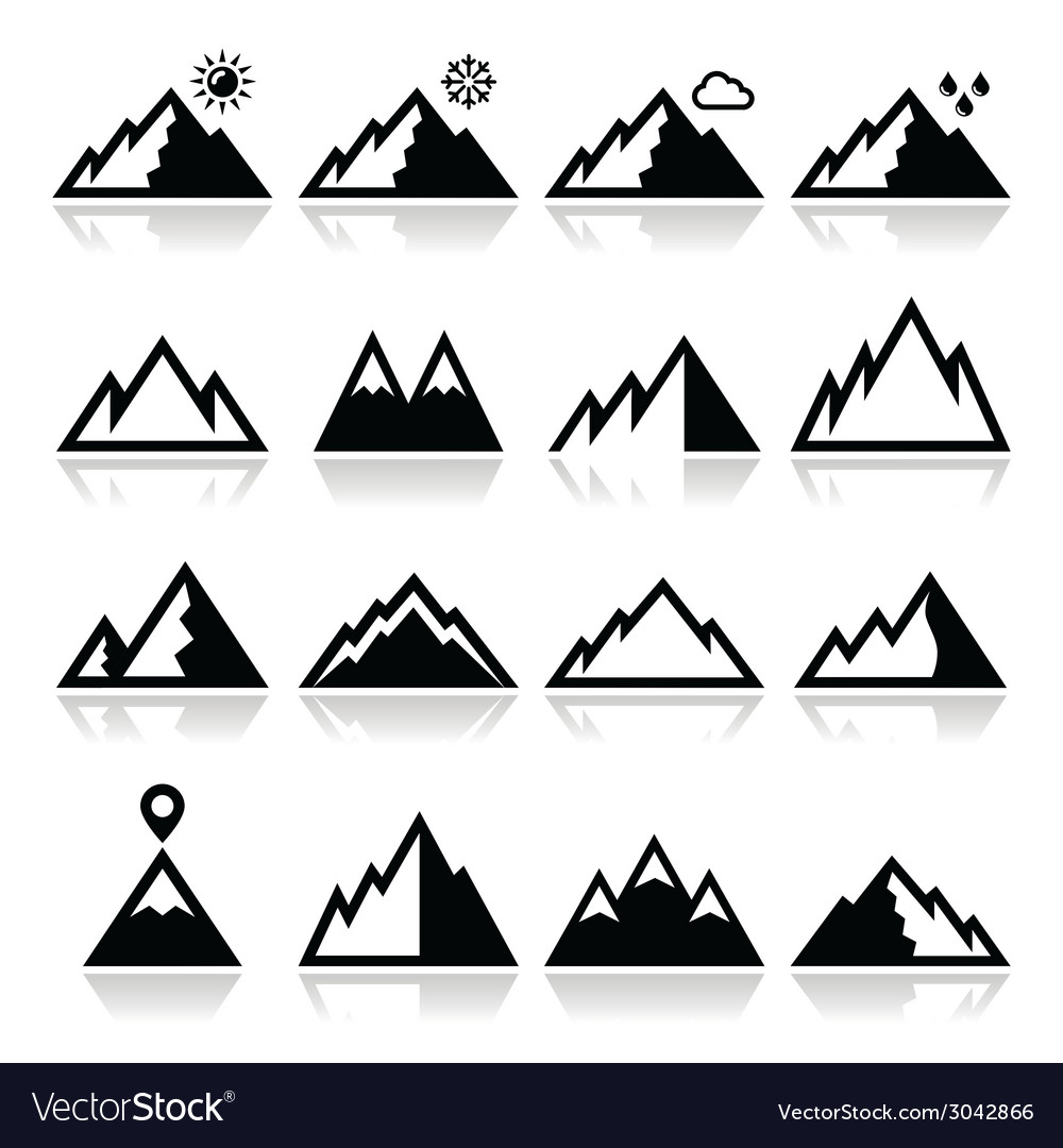 Mountains icons set vector | Price: 1 Credit (USD $1)