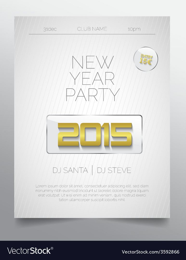New year party flyer template - golden white vector | Price: 1 Credit (USD $1)
