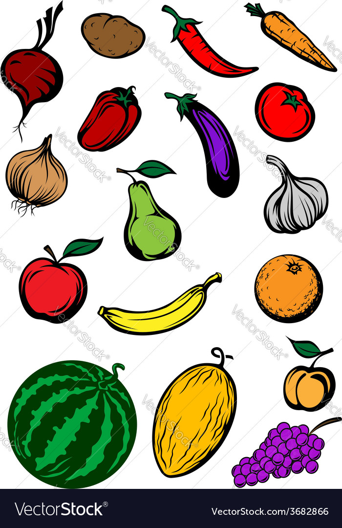 Organic ripe cartooned vegetables and fruits vector | Price: 1 Credit (USD $1)