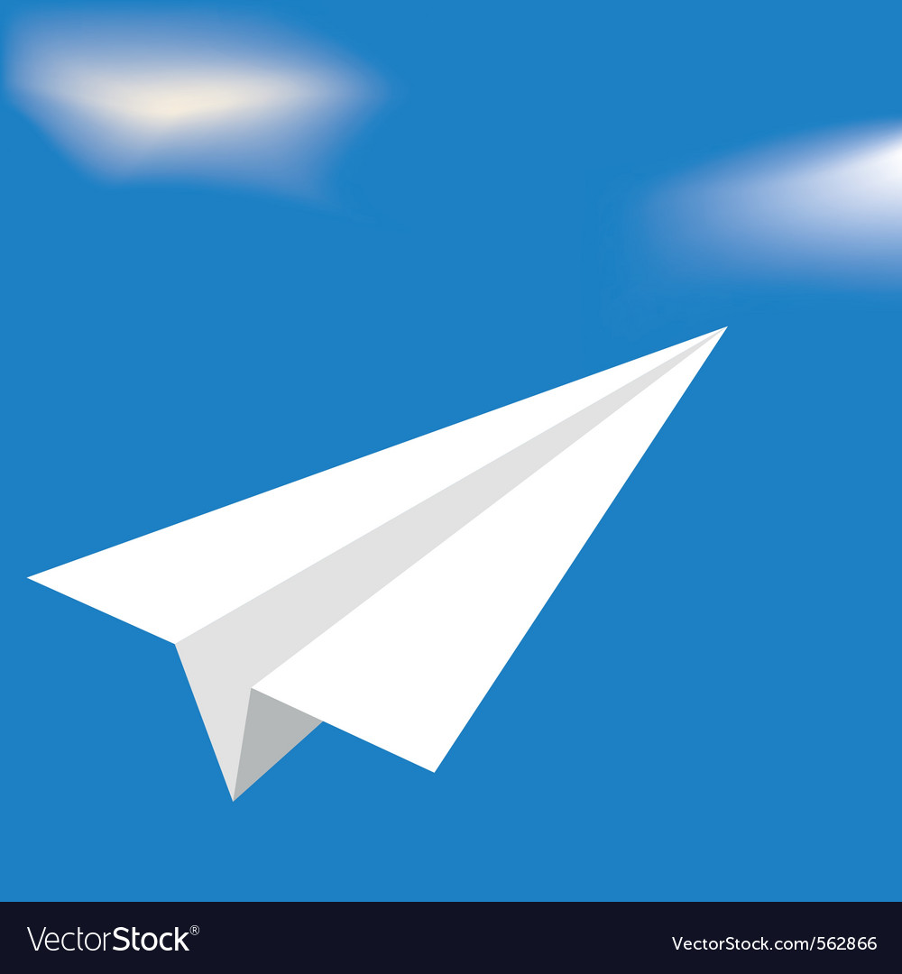 Origami white airplane vector | Price: 1 Credit (USD $1)