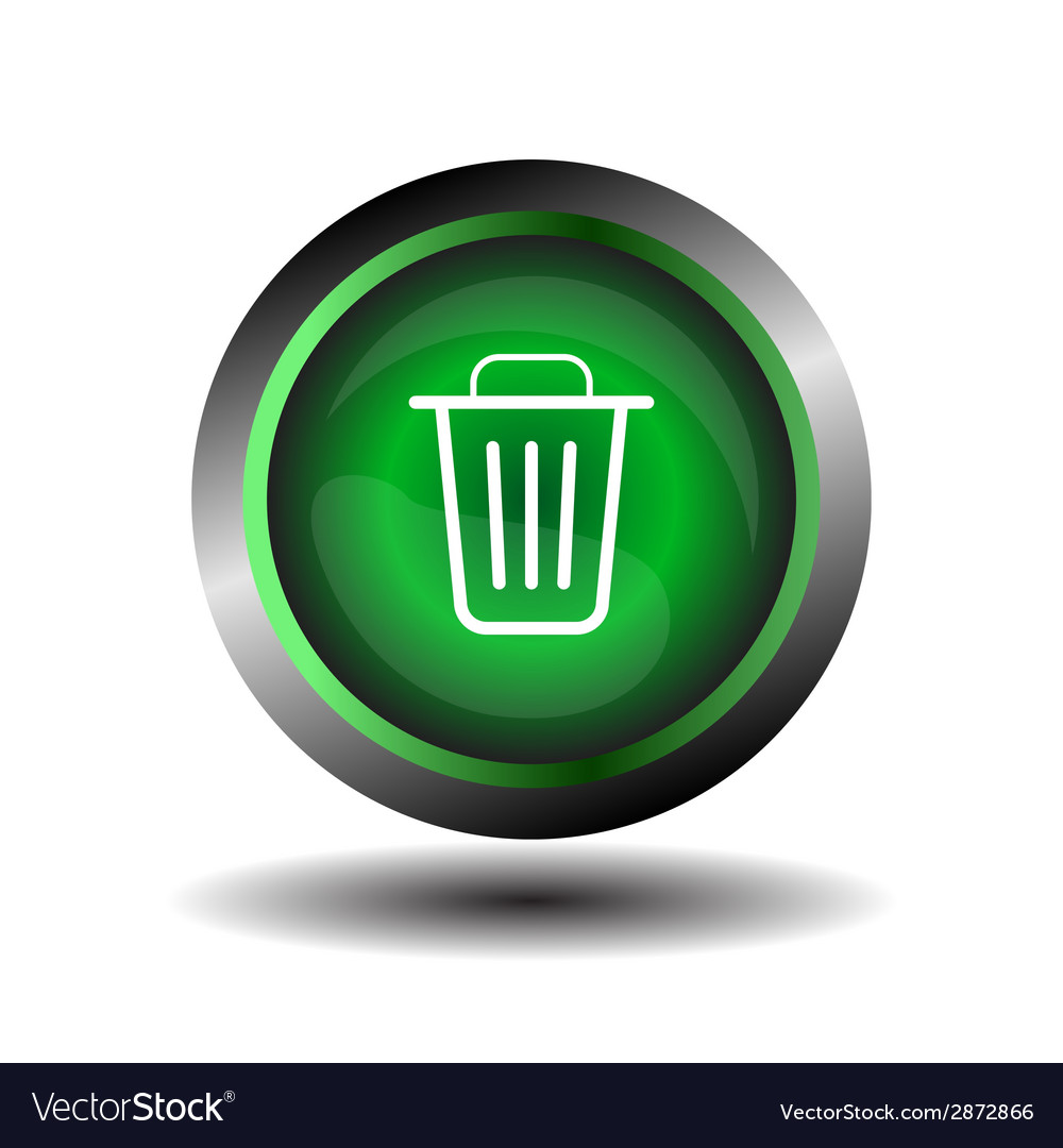 Recycle bin icon green trash bin icon on a white b vector | Price: 1 Credit (USD $1)