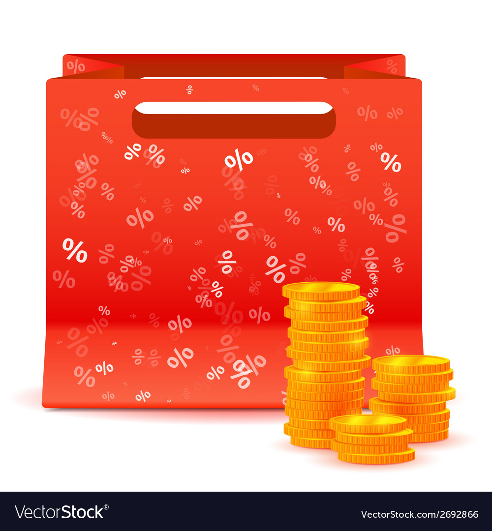 Red bag for shopping with coins vector | Price: 1 Credit (USD $1)