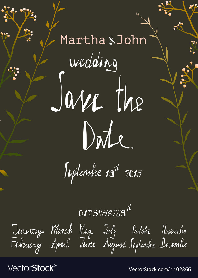 Rustic save the date invitation card template with vector | Price: 1 Credit (USD $1)