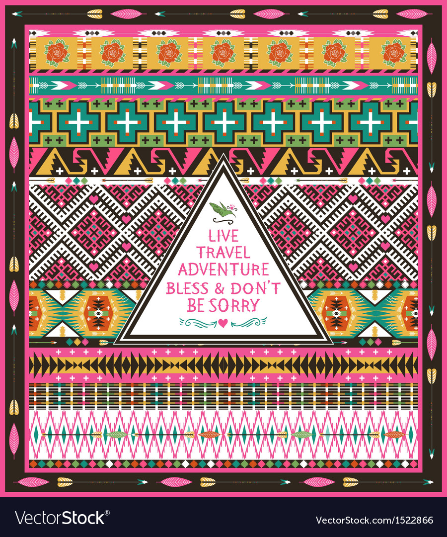 Seamless tribal pattern with geometric elements vector | Price: 1 Credit (USD $1)