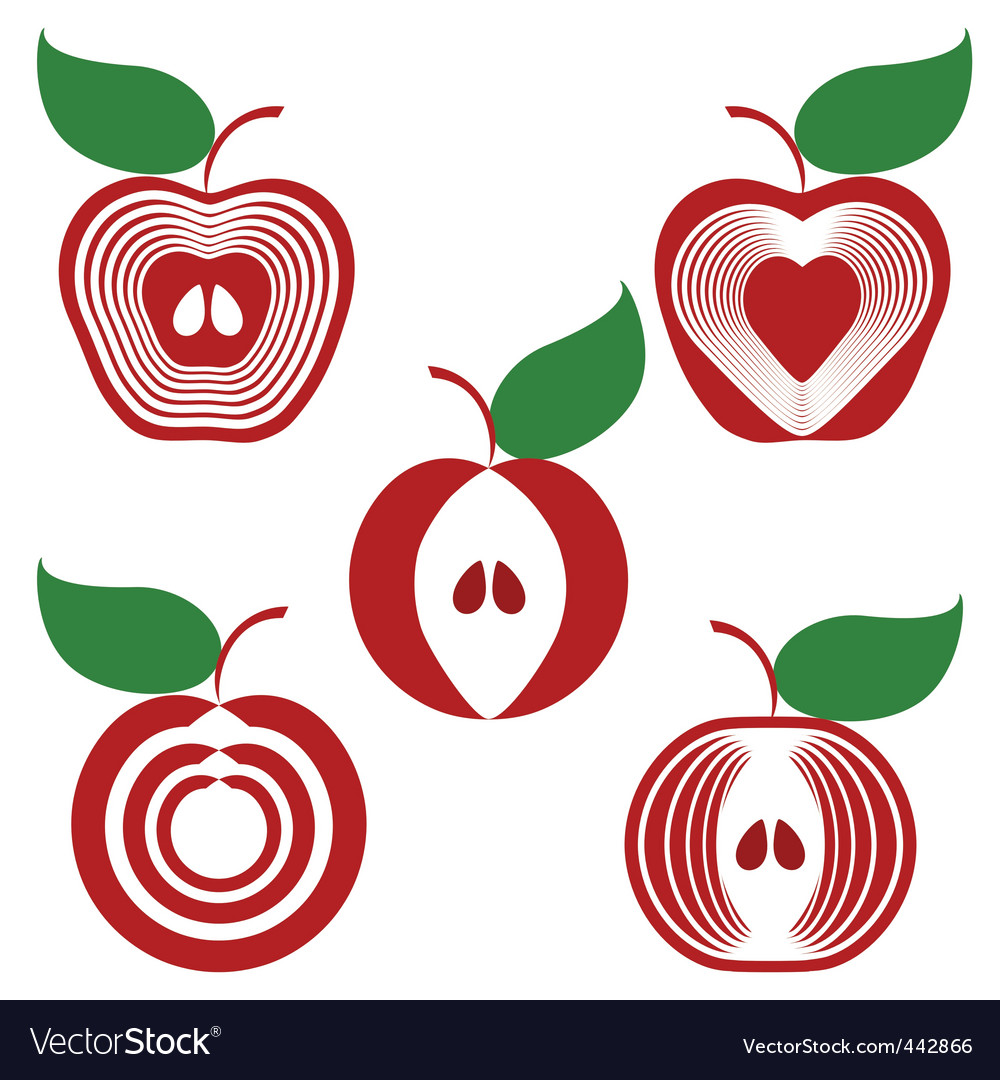 Set of simple apples vector | Price: 1 Credit (USD $1)