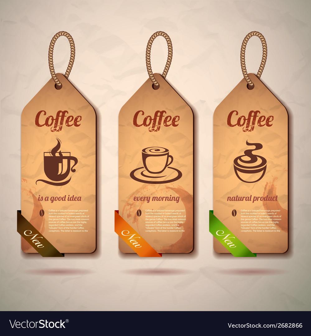 Set of vintage decorative coffee labels vector | Price: 1 Credit (USD $1)