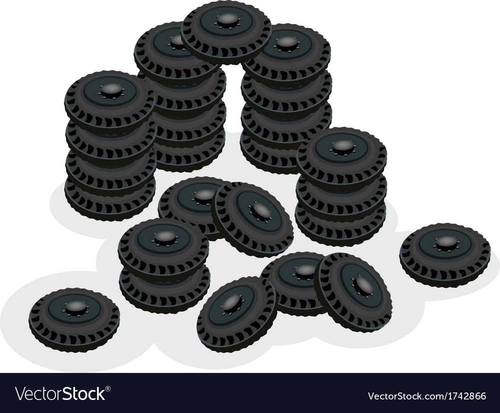 Stack of car wheels isolated on white background vector | Price: 1 Credit (USD $1)
