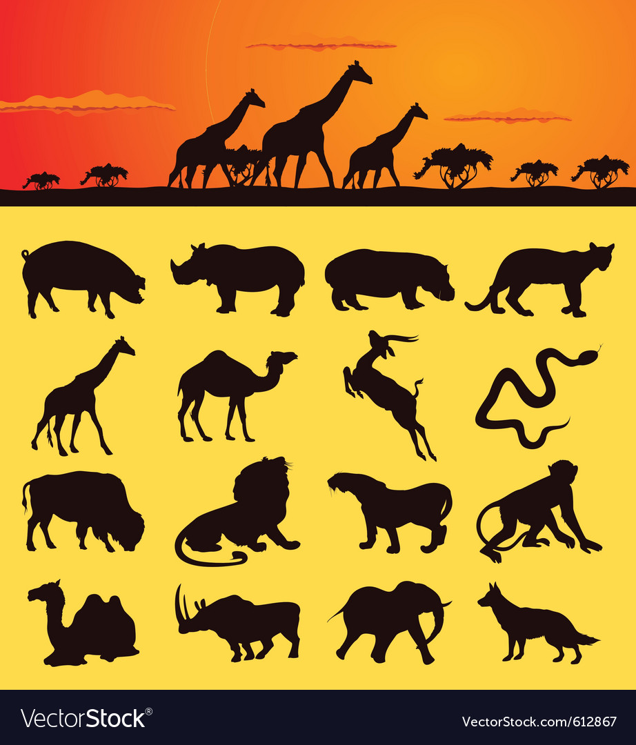 African animal silhouettes vector | Price: 1 Credit (USD $1)