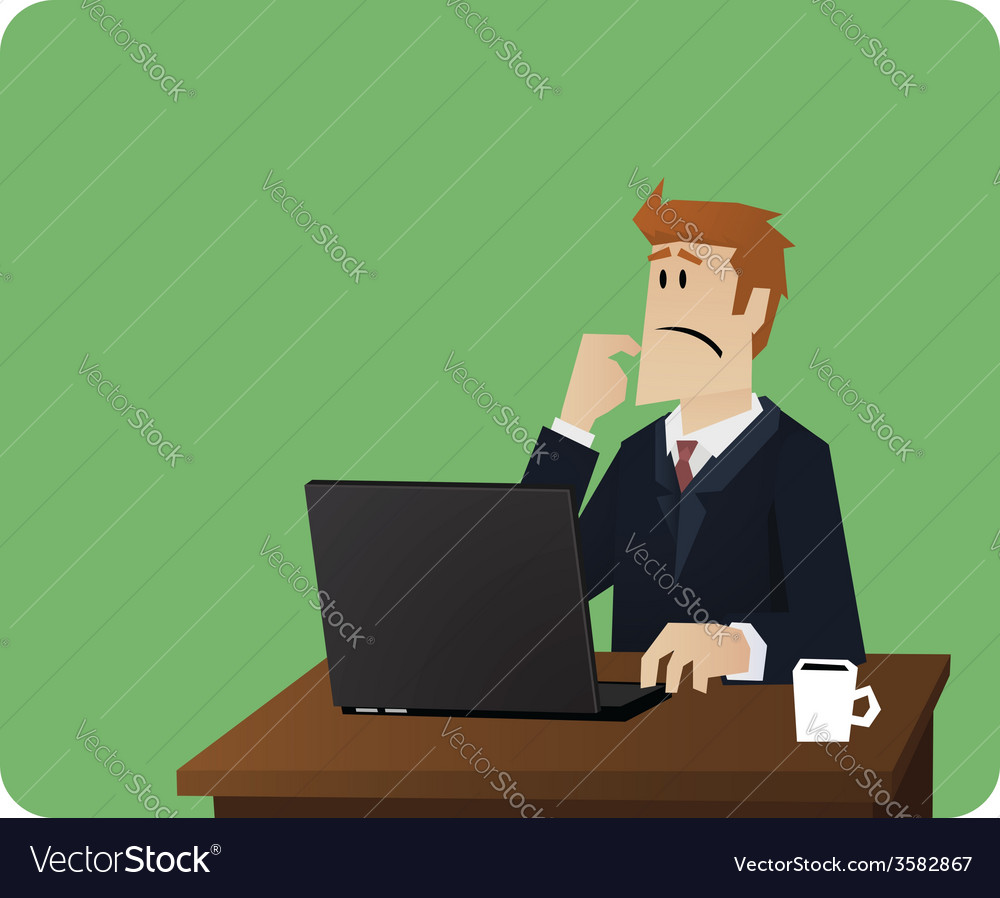 Business man thinking behind computer desk vector | Price: 1 Credit (USD $1)