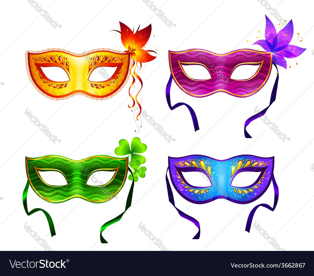 Colorful carnival masks set vector | Price: 1 Credit (USD $1)