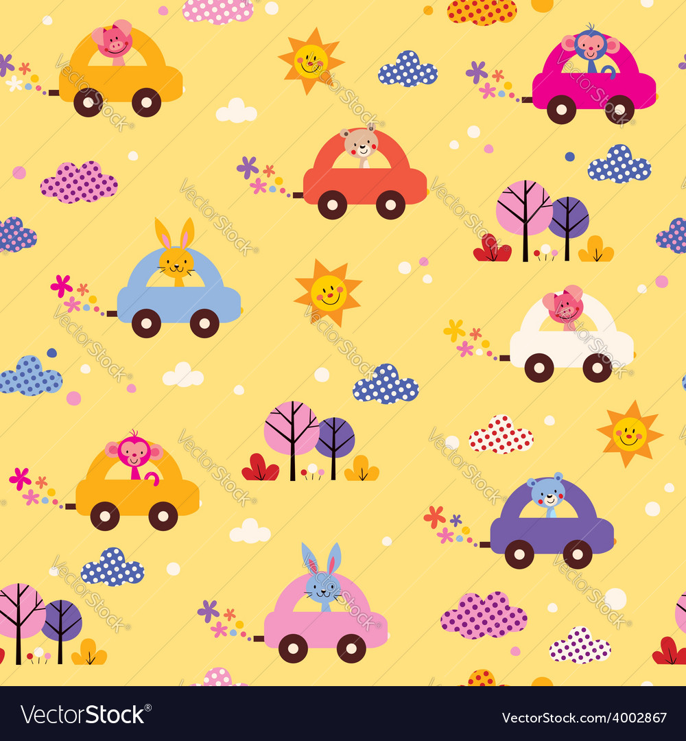 Cute animals driving cars kids pattern 2 vector   Price: 1 Credit (USD $1)