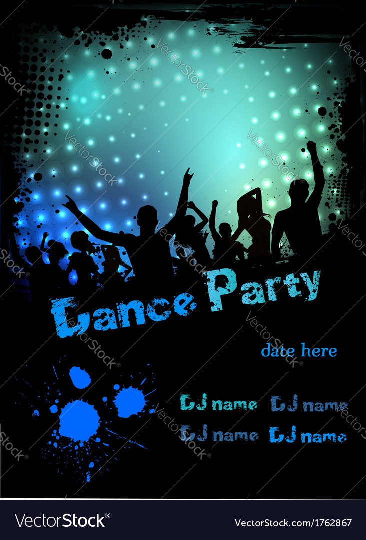 Dance party green blue grunge vector | Price: 1 Credit (USD $1)