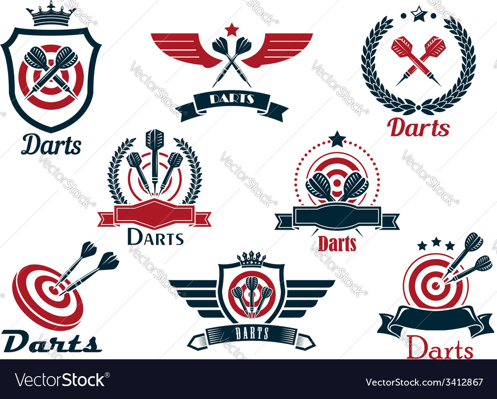 Darts heraldic sports emblems and symbols vector | Price: 1 Credit (USD $1)