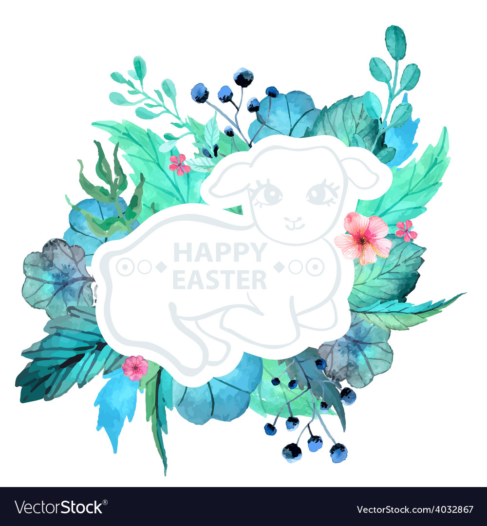 Easter watercolor natural with lamb sticker vector | Price: 1 Credit (USD $1)