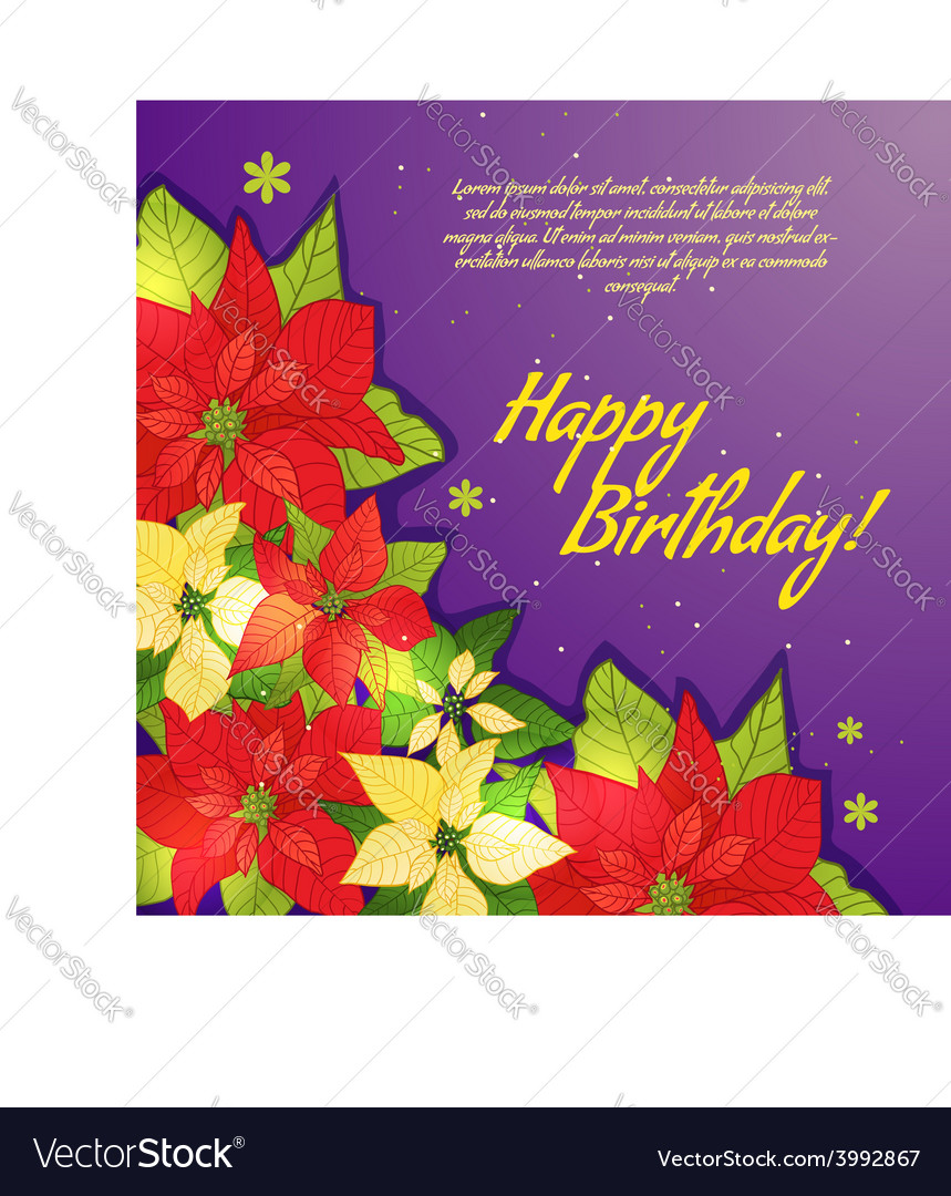 Floral decorative card with poinsettia vector | Price: 1 Credit (USD $1)