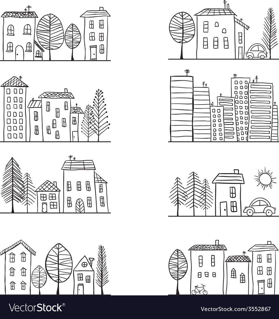 Houses doodles vector | Price: 1 Credit (USD $1)