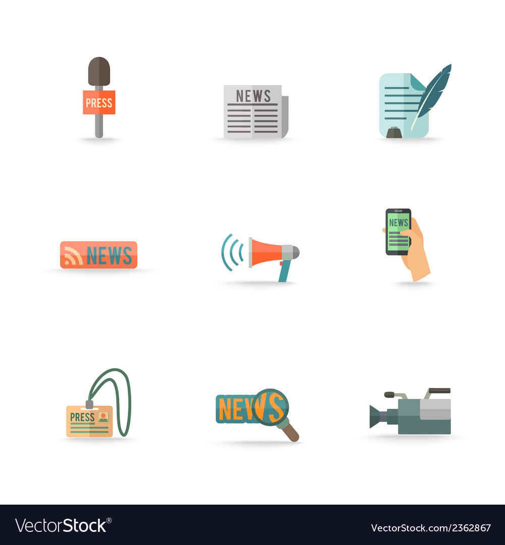 Journalist reporter icons set vector | Price: 1 Credit (USD $1)