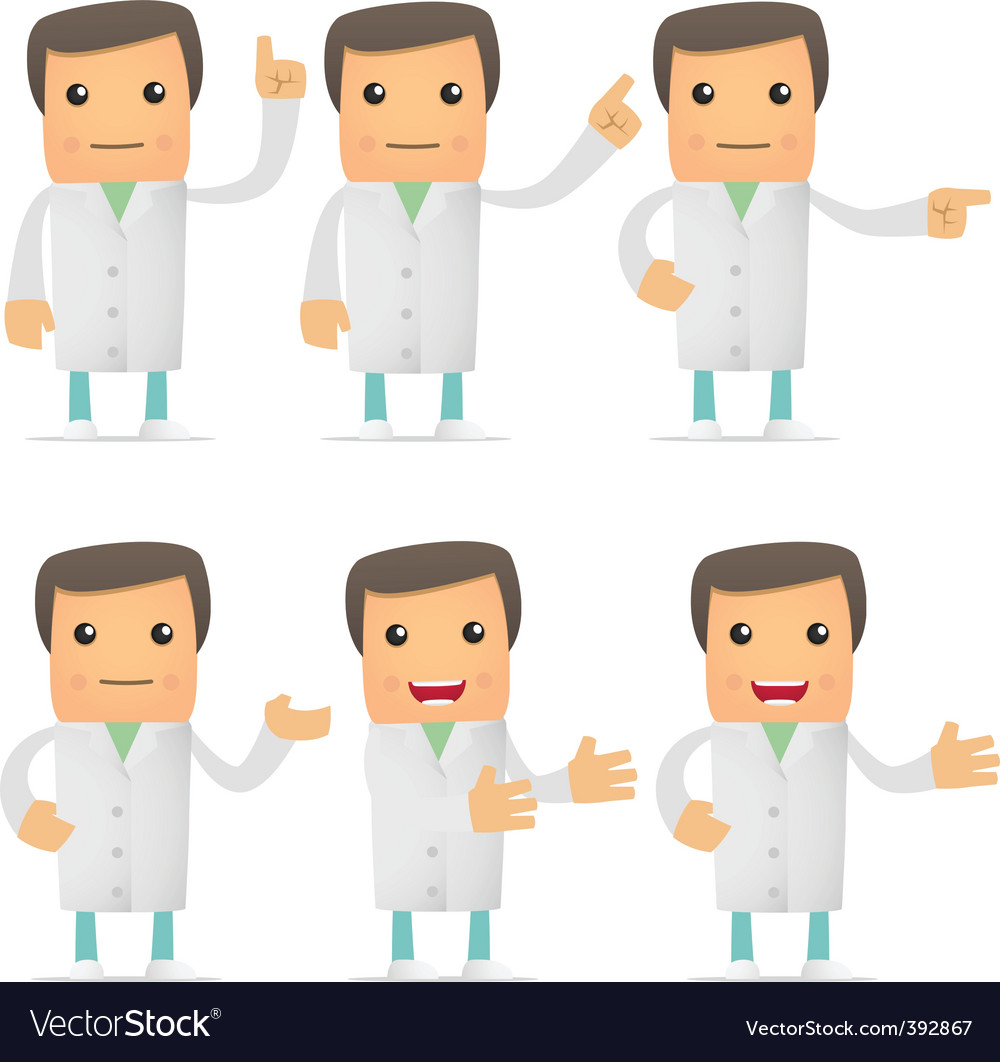 Set of funny cartoon doctor vector | Price: 1 Credit (USD $1)