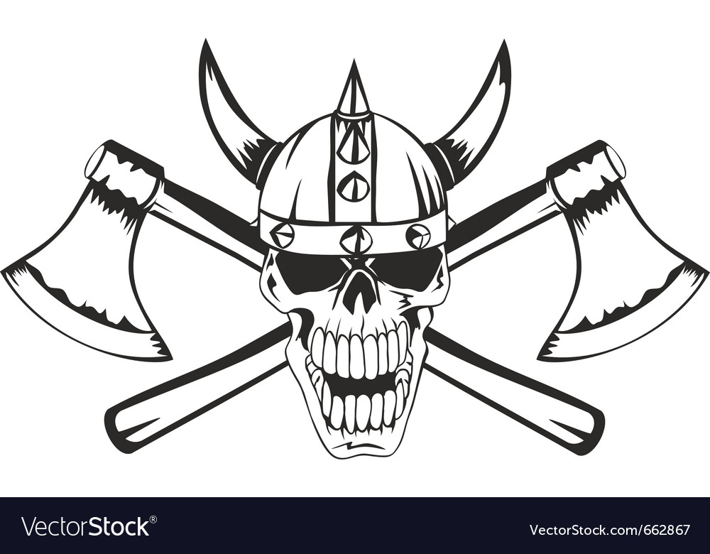 Skull and axes vector | Price: 1 Credit (USD $1)