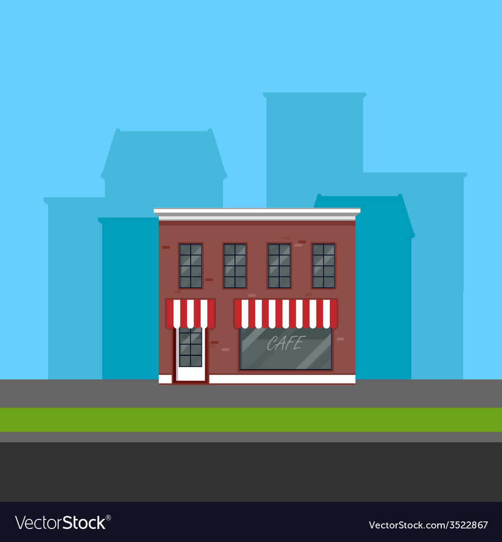 Small cafe in flat polygonal style vector | Price: 1 Credit (USD $1)