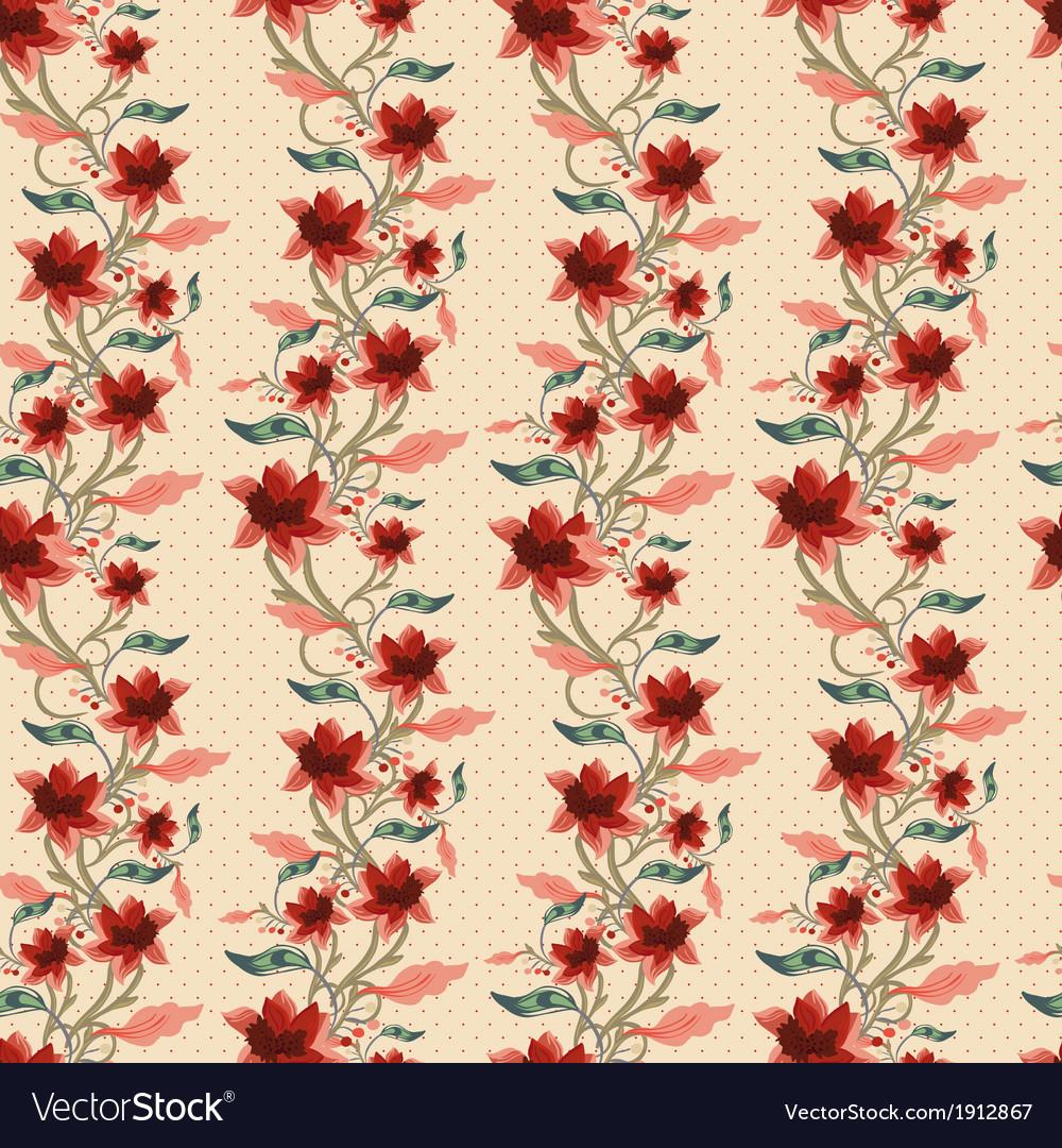 Vintage floral seamless background vector | Price: 1 Credit (USD $1)