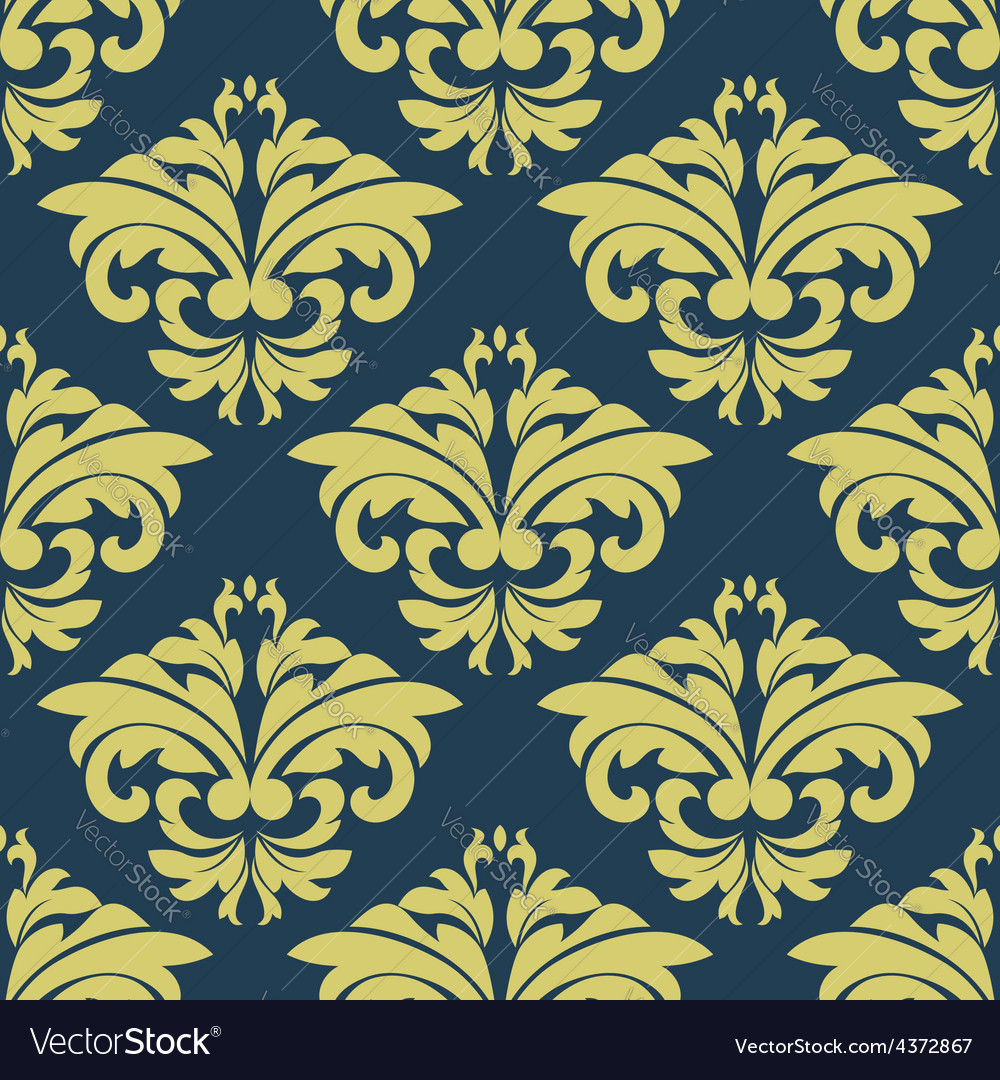 Vintage floral yellow damask seamless pattern vector | Price: 1 Credit (USD $1)