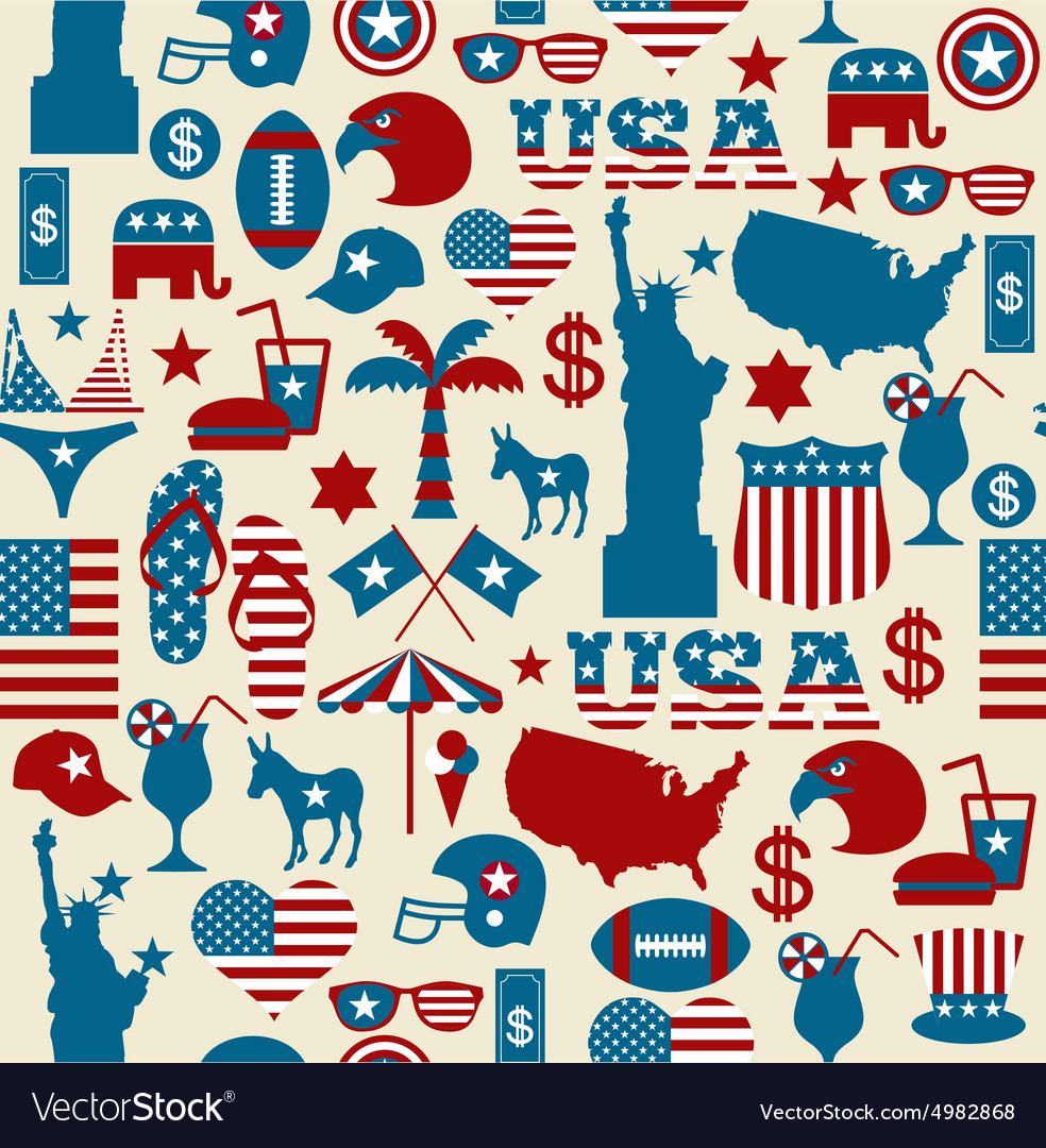 American design seamless pattern independence day vector