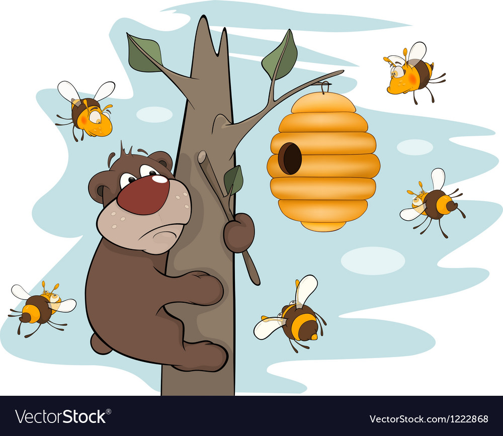 Bear cub and bees cartoon vector   Price: 3 Credit (USD $3)