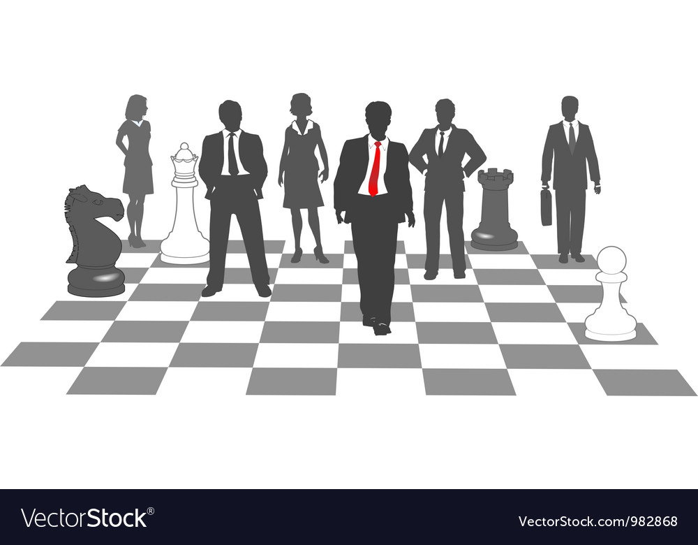 Business people chess team win game vector | Price: 1 Credit (USD $1)