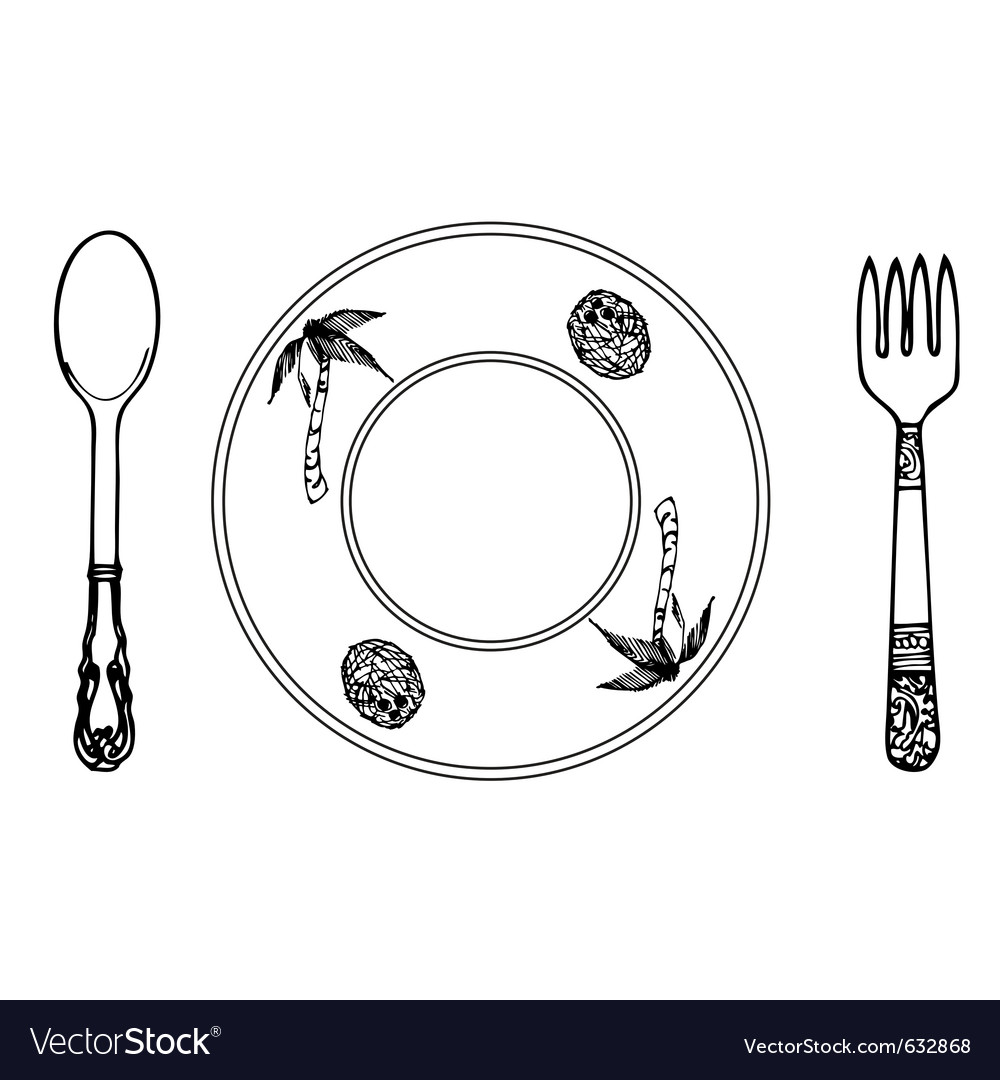 Cartoon plate fork and spoon vector | Price: 1 Credit (USD $1)