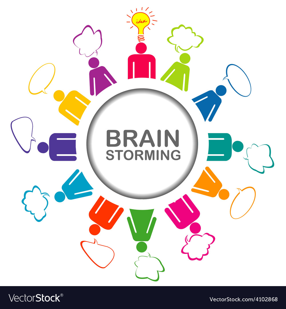 Colorful brainstorming concept with teamwork vector | Price: 1 Credit (USD $1)