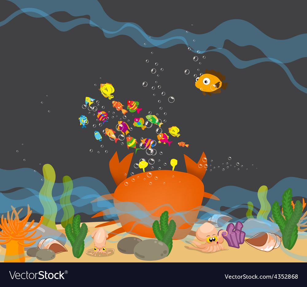 Crab big is under a sea water vector | Price: 3 Credit (USD $3)