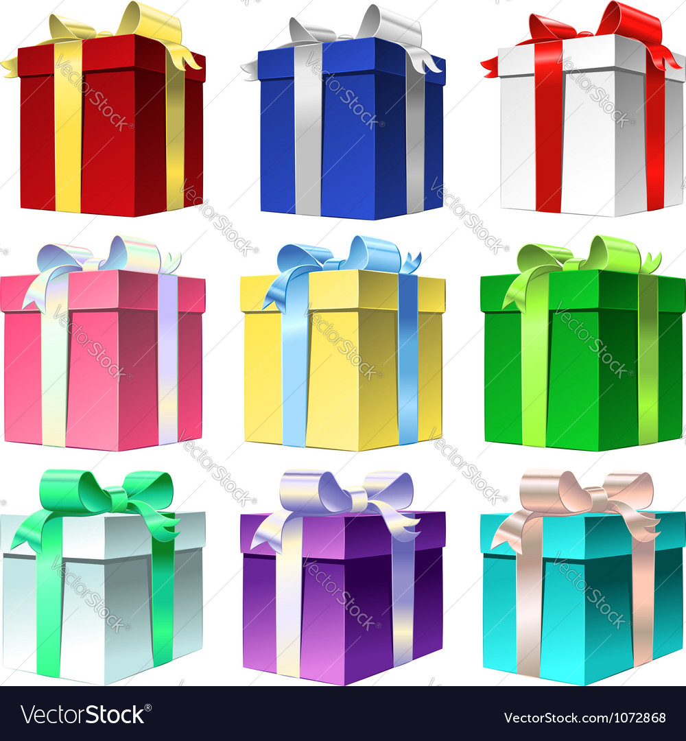 Et colorful gift box with shiny ribbon bow vector | Price: 1 Credit (USD $1)