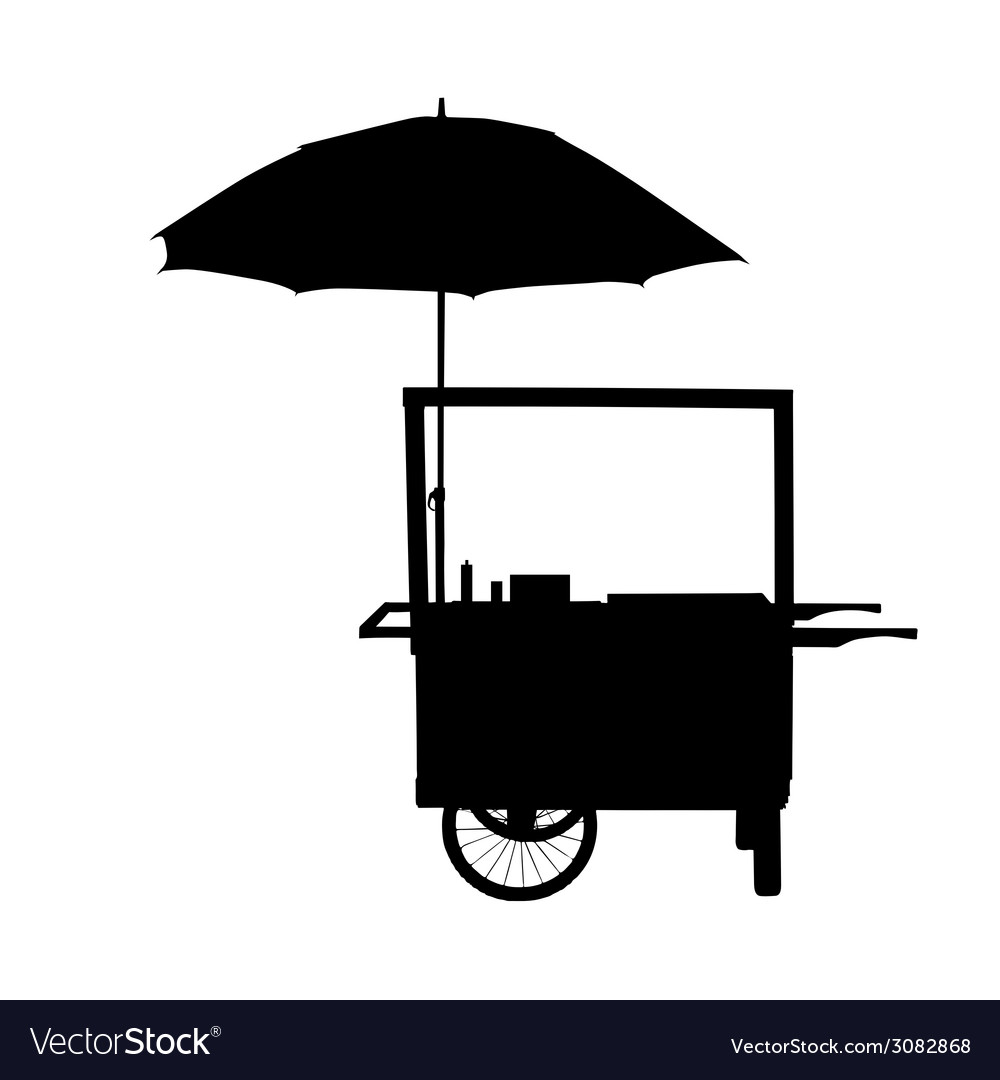 Hot dog trolley wheel with umbrella silhouette vector | Price: 1 Credit (USD $1)