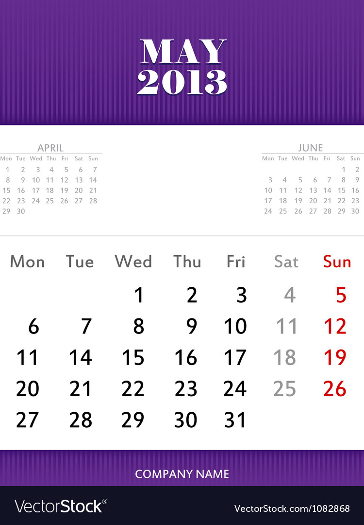 May 2013 calendar design vector | Price: 1 Credit (USD $1)