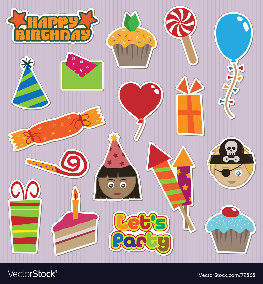 Party stickers vector | Price: 1 Credit (USD $1)