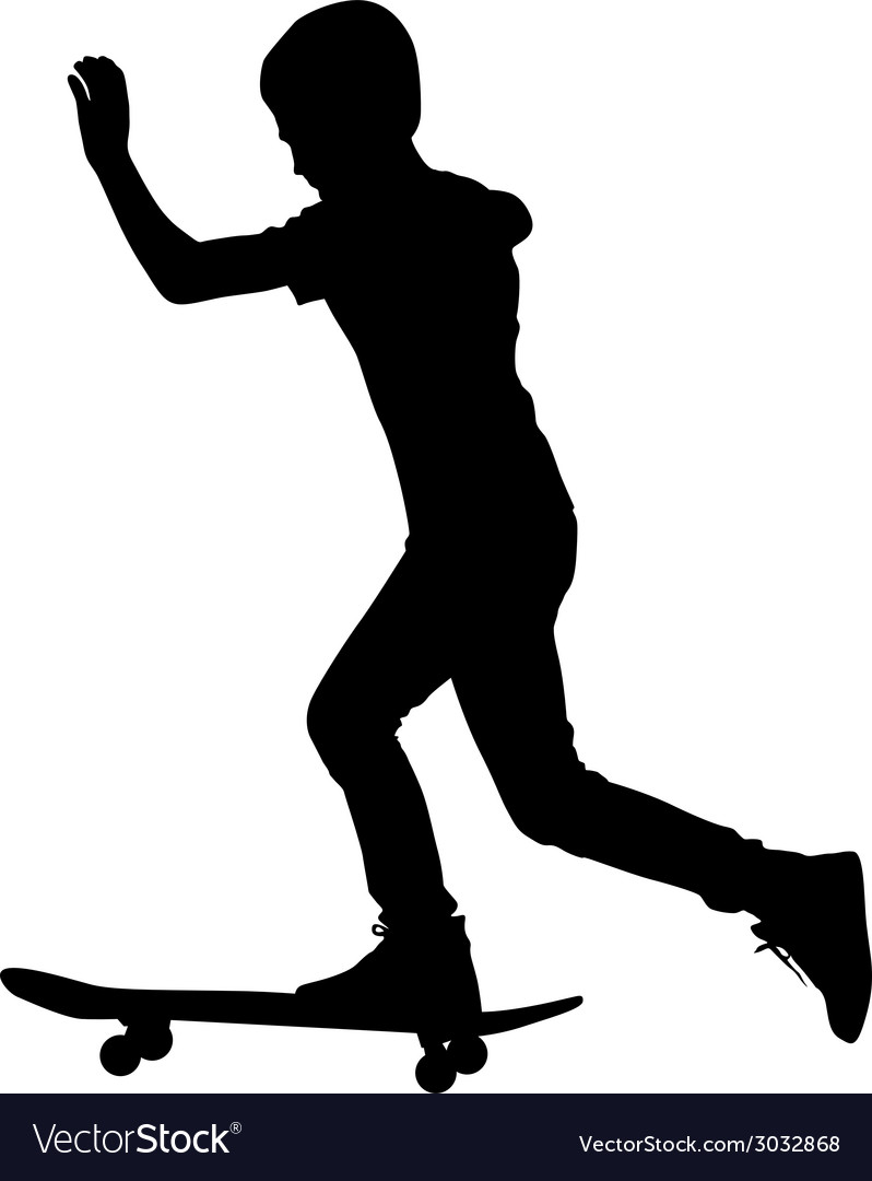 Set of skateboarders silhouette vector | Price: 1 Credit (USD $1)