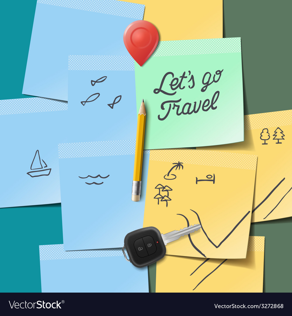 Travel and tourism concept lets go travel text on vector | Price: 1 Credit (USD $1)