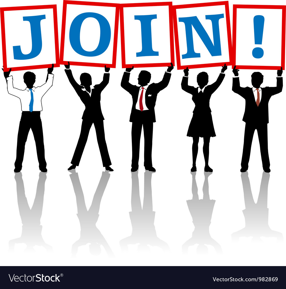Business people hold up join sign vector | Price: 1 Credit (USD $1)