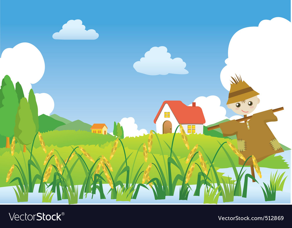 Cartoons village scarecrow vector | Price: 3 Credit (USD $3)