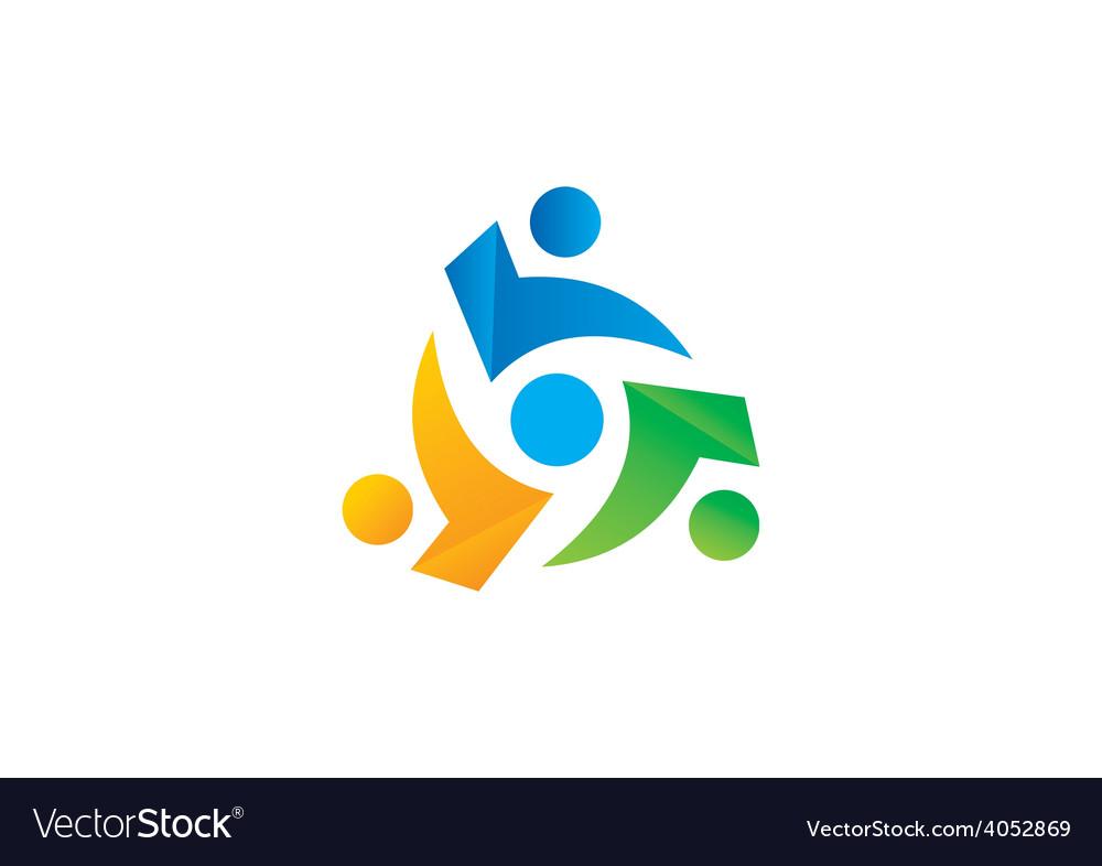 Circle people group teamwork logo vector | Price: 1 Credit (USD $1)