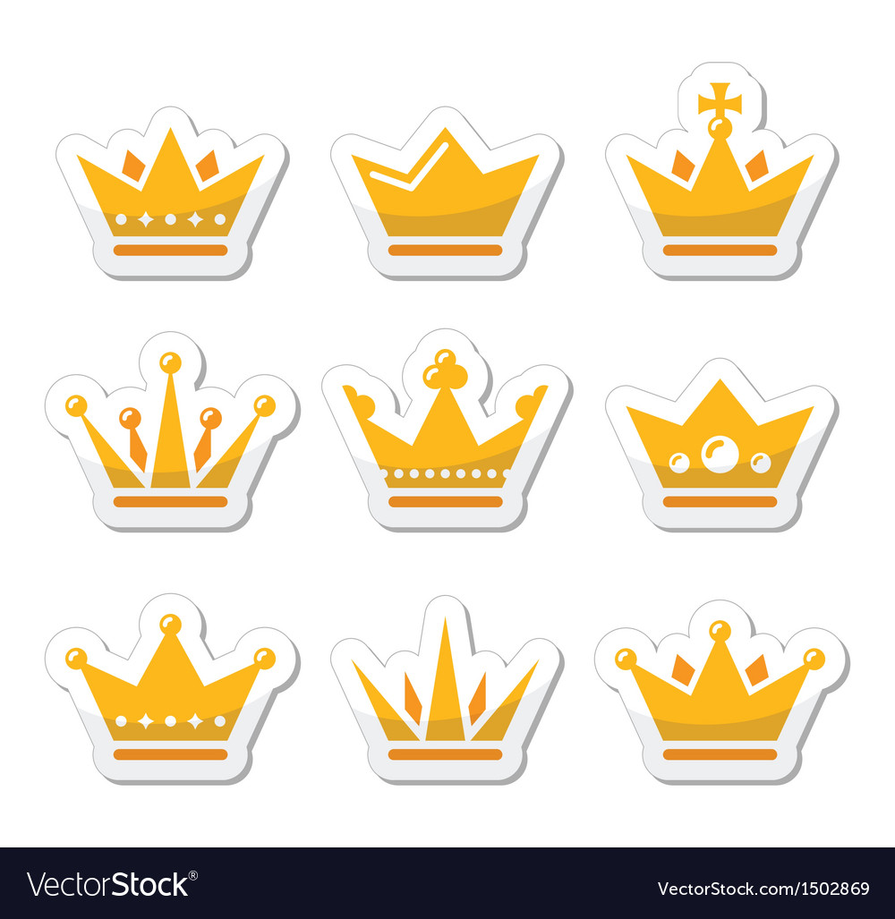 Crown royal family icons set vector | Price: 1 Credit (USD $1)