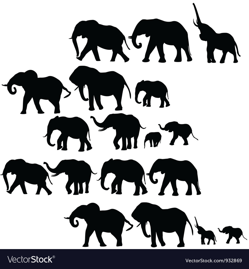Elephants silhouettes vector | Price: 1 Credit (USD $1)