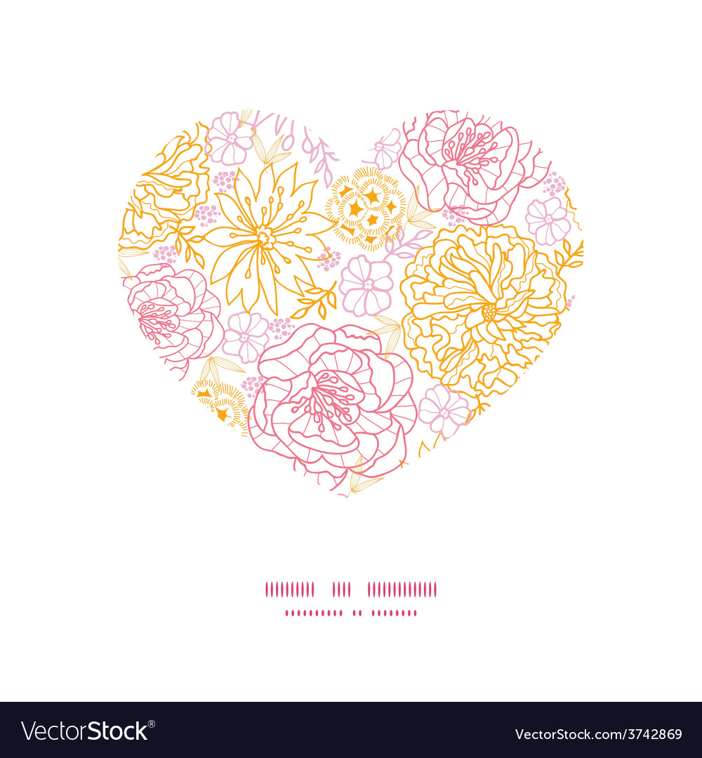 Flowers outlined heart silhouette pattern vector   Price: 1 Credit (USD $1)
