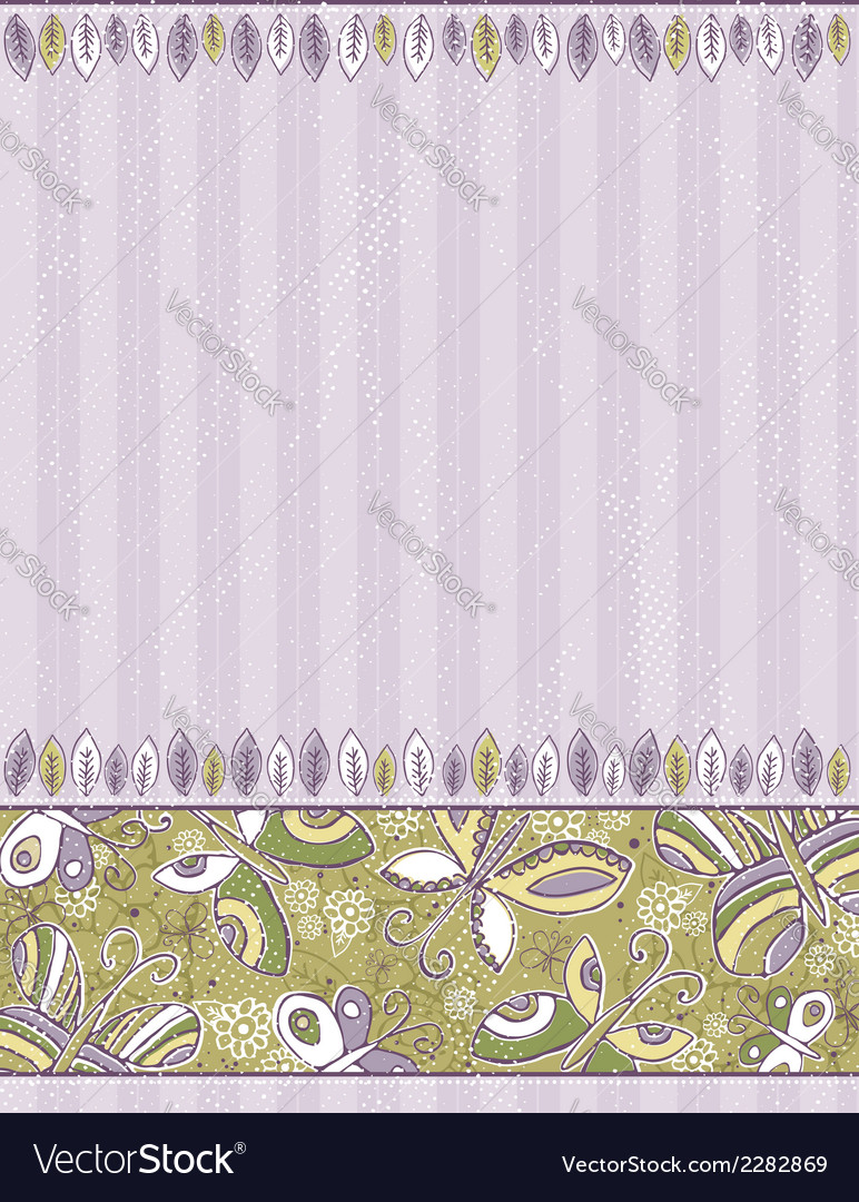 Hand draw butterflies and flowers on striped purpl vector | Price: 1 Credit (USD $1)