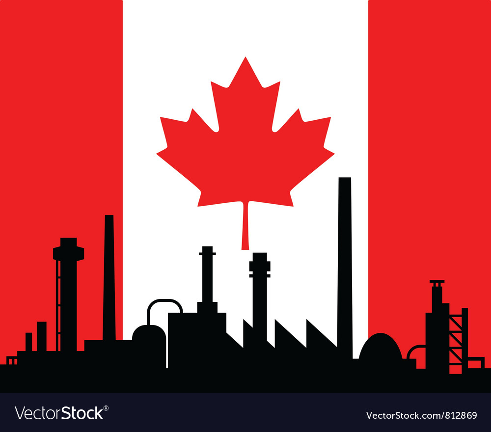 Industry and flag of canada vector | Price: 1 Credit (USD $1)